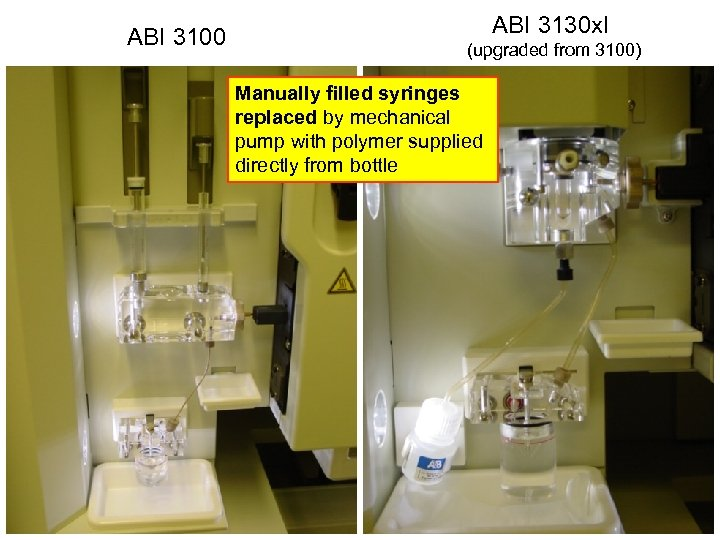 ABI 3100 ABI 3130 xl (upgraded from 3100) Manually filled syringes replaced by mechanical