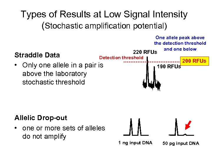 Types of Results at Low Signal Intensity (Stochastic amplification potential) One allele peak above