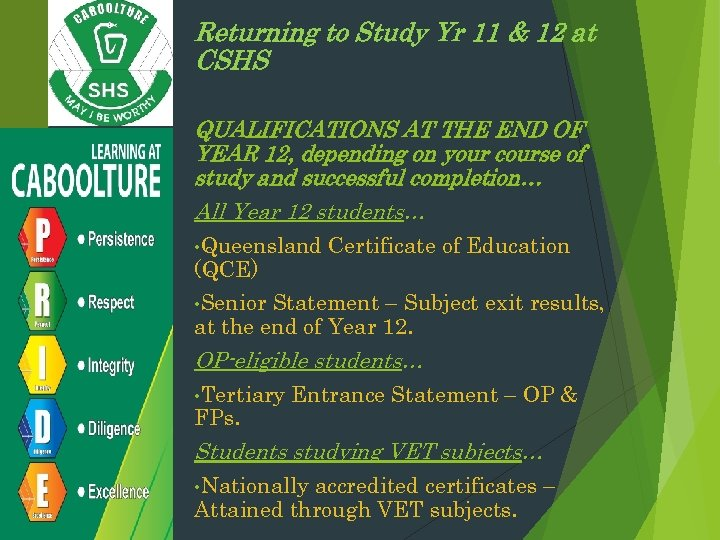 Returning to Study Yr 11 & 12 at CSHS QUALIFICATIONS AT THE END OF