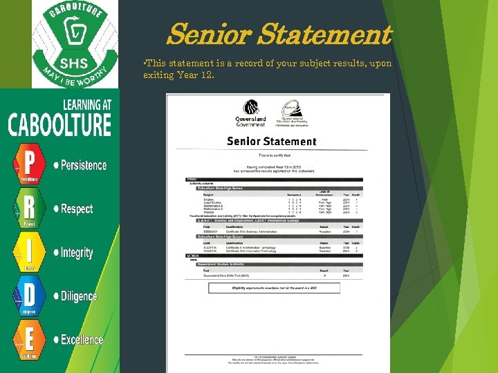Senior Statement • This statement is a record of your subject results, upon exiting