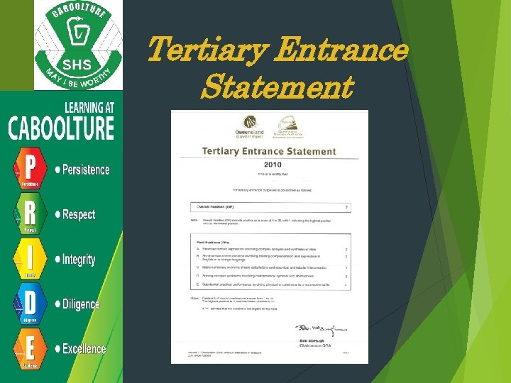 Tertiary Entrance Statement