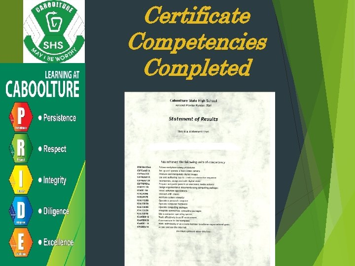 Certificate Competencies Completed