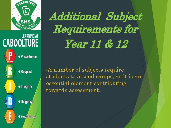Additional Subject Requirements for Year 11 & 12 • A number of subjects require
