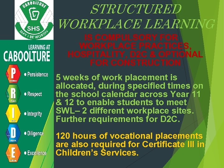 STRUCTURED WORKPLACE LEARNING IS COMPULSORY FOR WORKPLACE PRACTICES, HOSPITALITY, D 2 C & OPTIONAL