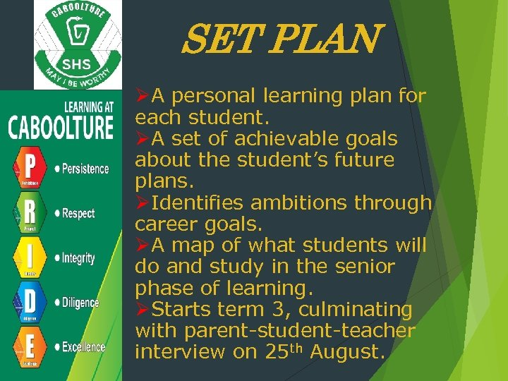 SET PLAN ØA personal learning plan for each student. ØA set of achievable goals