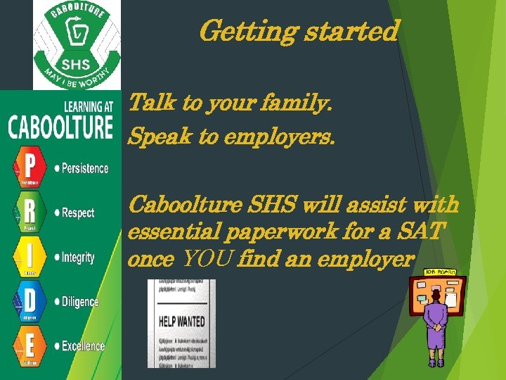 Getting started Talk to your family. Speak to employers. Caboolture SHS will assist with
