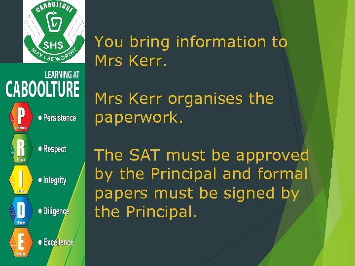 You bring information to Mrs Kerr organises the paperwork. The SAT must be approved