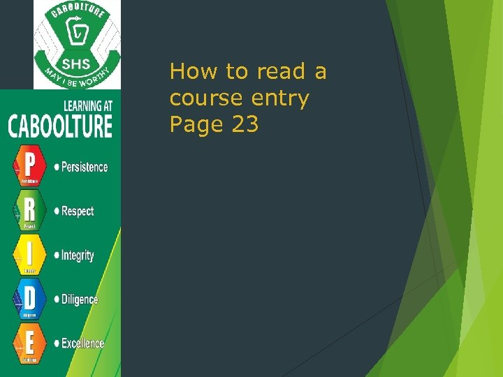 How to read a course entry Page 23