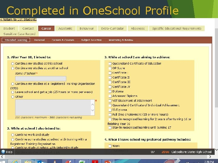 Completed in One. School Profile