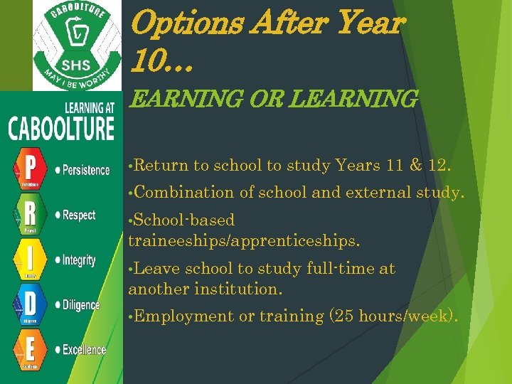Options After Year 10… EARNING OR LEARNING • Return to school to study Years