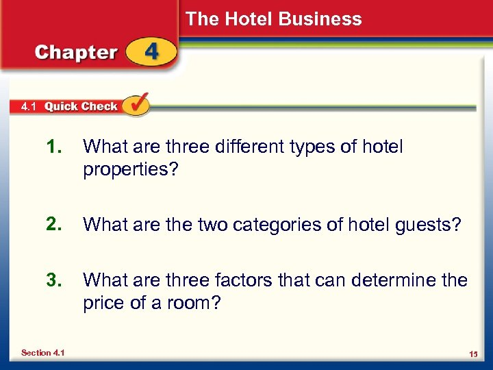 The Hotel Business 4. 1 1. What are three different types of hotel properties?