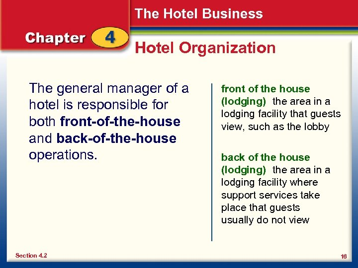 The Hotel Business Hotel Organization The general manager of a hotel is responsible for