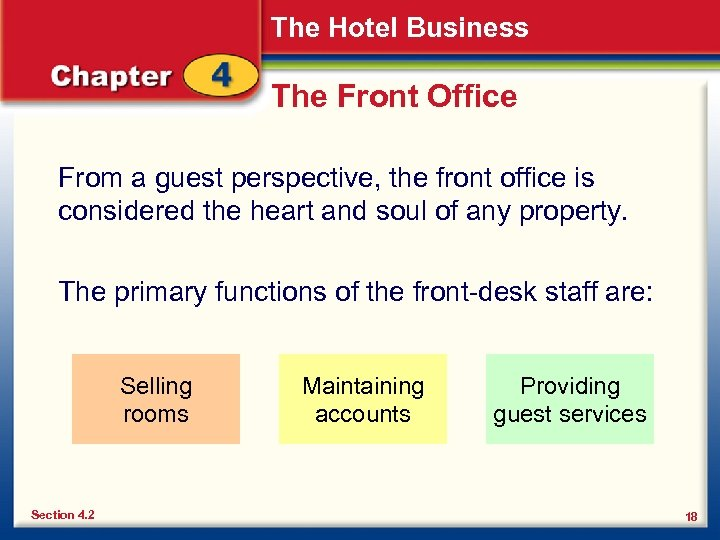 The Hotel Business The Front Office From a guest perspective, the front office is