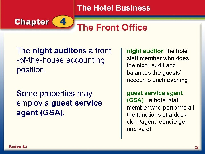 The Hotel Business The Front Office The night auditoris a front -of-the-house accounting position.
