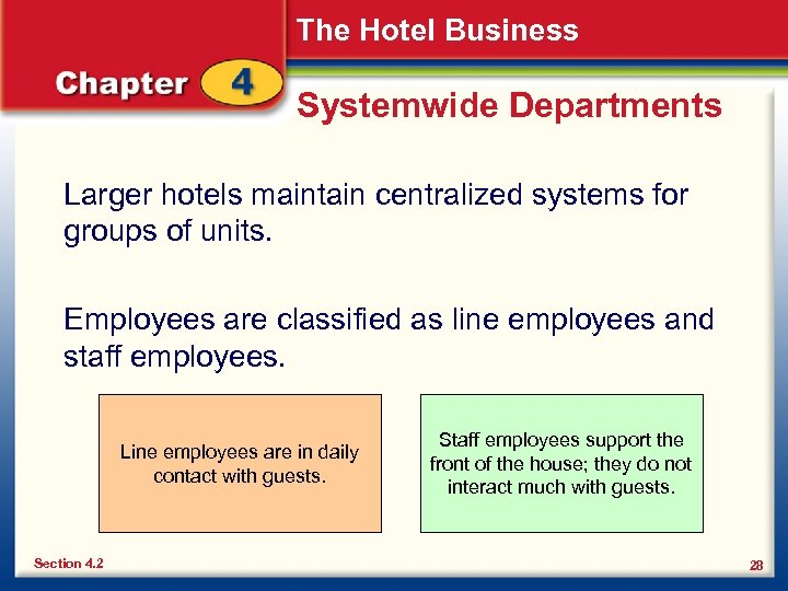 The Hotel Business Systemwide Departments Larger hotels maintain centralized systems for groups of units.