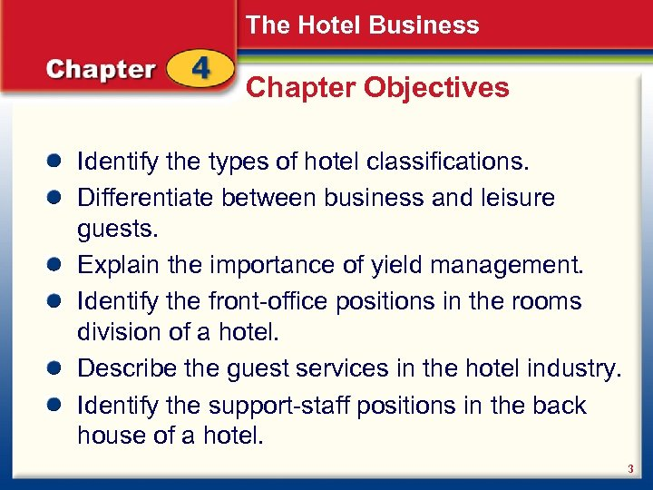The Hotel Business Chapter Objectives Identify the types of hotel classifications. Differentiate between business