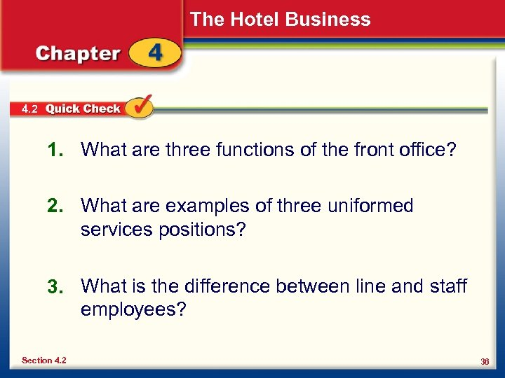 The Hotel Business 4. 2 1. What are three functions of the front office?