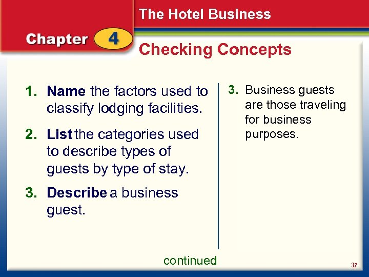 The Hotel Business Checking Concepts 1. Name the factors used to classify lodging facilities.