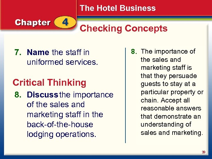 The Hotel Business Checking Concepts 7. Name the staff in uniformed services. Critical Thinking