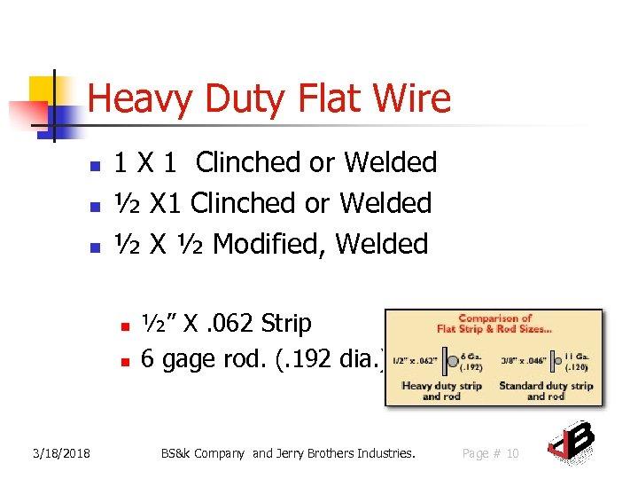 Heavy Duty Flat Wire n n n 1 X 1 Clinched or Welded ½