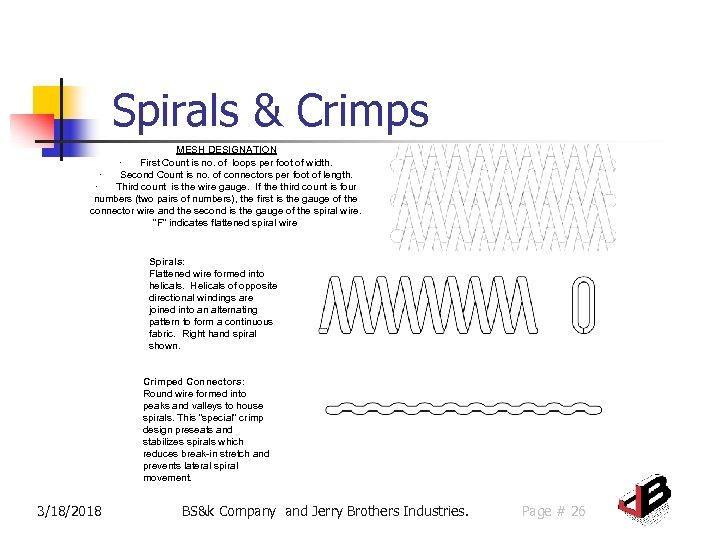 Spirals & Crimps MESH DESIGNATION · First Count is no. of loops per foot