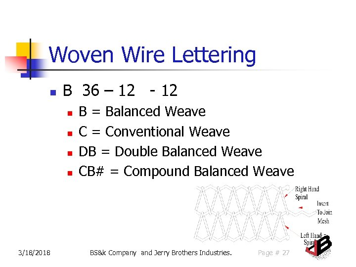 Woven Wire Lettering n B 36 – 12 - 12 n n 3/18/2018 B