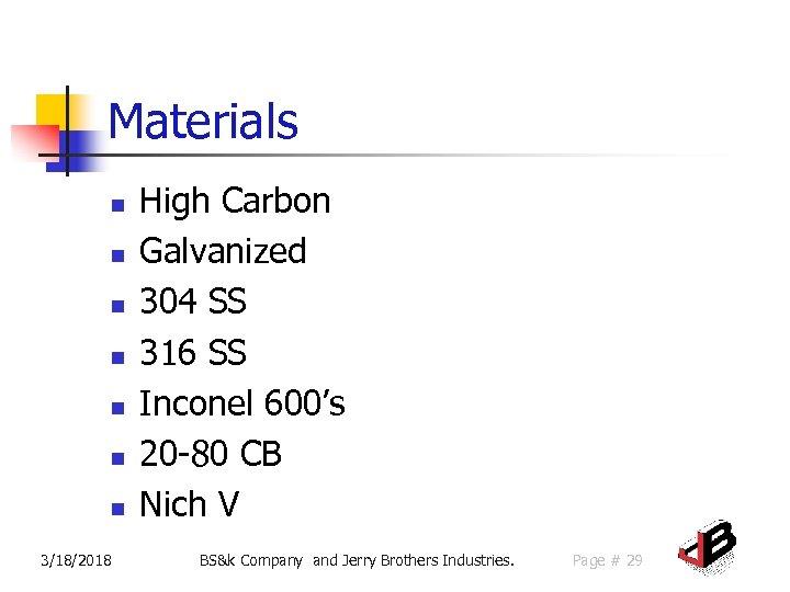 Materials n n n n 3/18/2018 High Carbon Galvanized 304 SS 316 SS Inconel