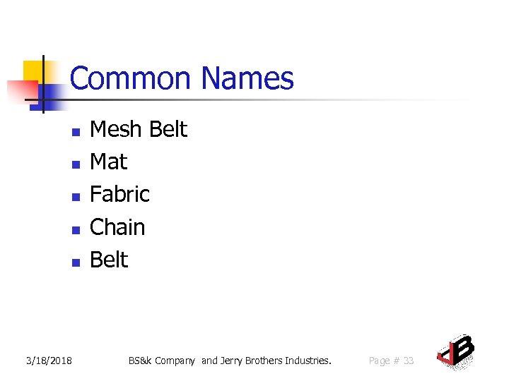 Common Names n n n 3/18/2018 Mesh Belt Mat Fabric Chain Belt BS&k Company