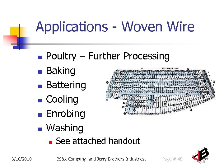 Applications - Woven Wire n n n Poultry – Further Processing Baking Battering Cooling