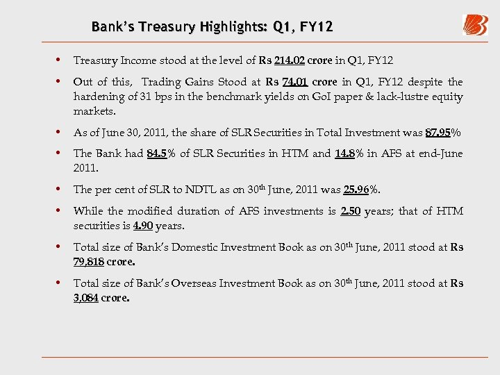 Bank's Treasury Highlights: Q 1, FY 12 • Treasury Income stood at the level