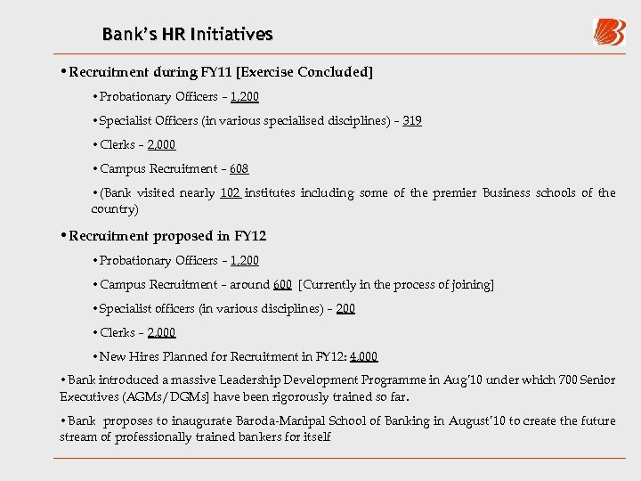 Bank's HR Initiatives • Recruitment during FY 11 [Exercise Concluded] • Probationary Officers –