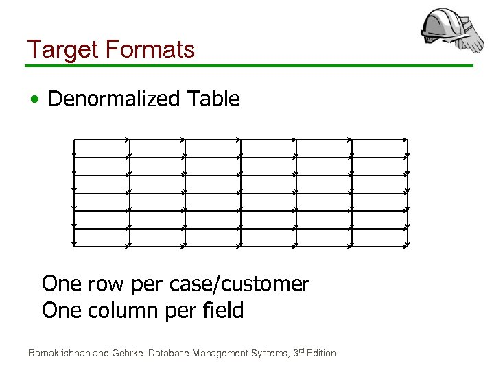 Target Formats • Denormalized Table One row per case/customer One column per field Ramakrishnan