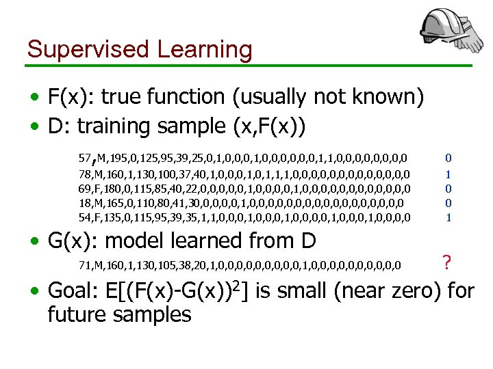 Supervised Learning • F(x): true function (usually not known) • D: training sample (x,