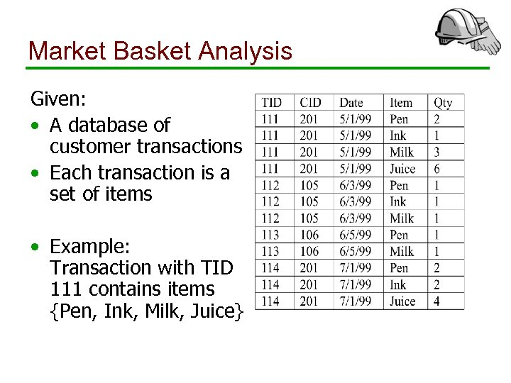 Market Basket Analysis Given: • A database of customer transactions • Each transaction is