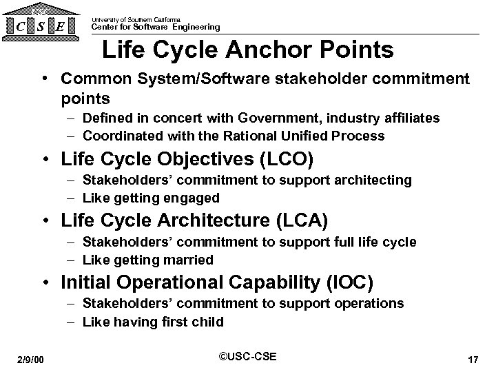 USC C S E University of Southern California Center for Software Engineering Life Cycle