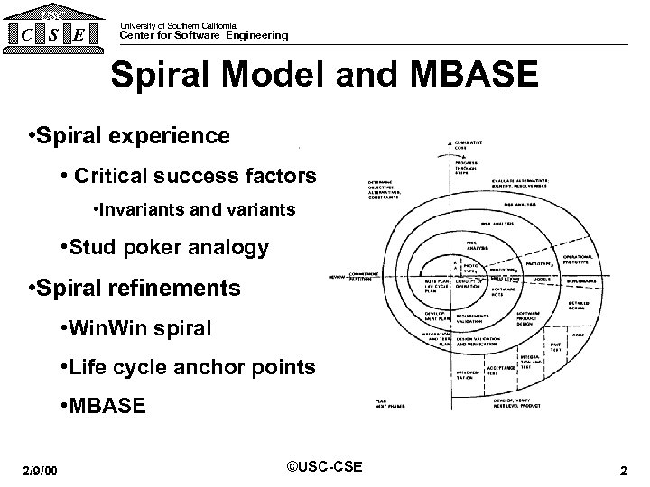 USC C S E University of Southern California Center for Software Engineering Spiral Model