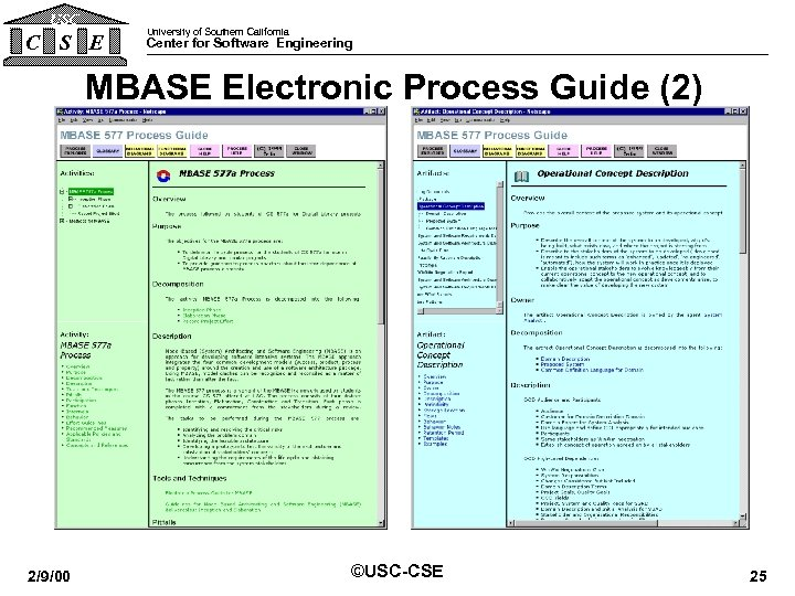 USC C S E University of Southern California Center for Software Engineering MBASE Electronic