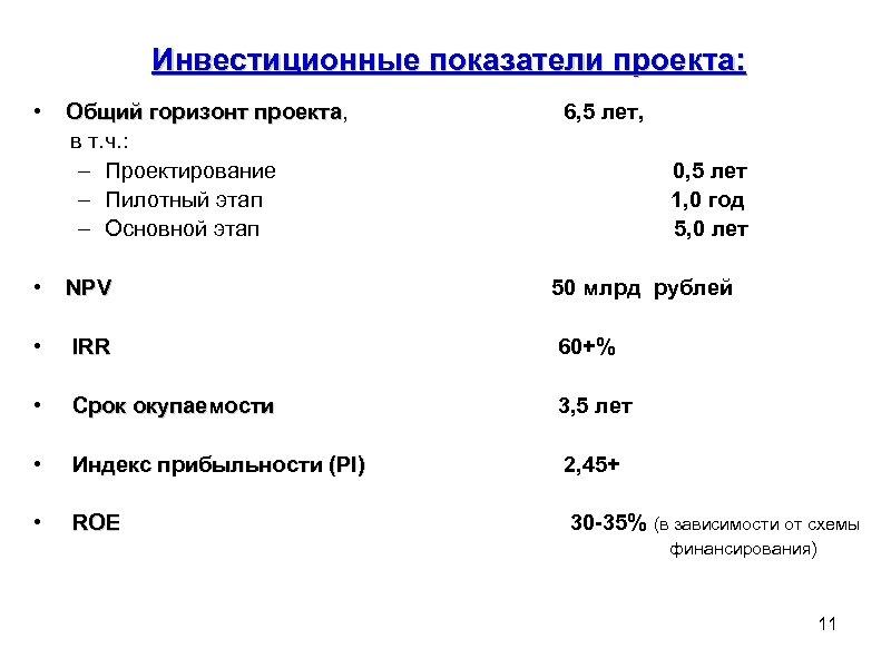 Инвестиционные показатели проекта: • Общий горизонт проекта, Общий горизонт проекта в т. ч. :