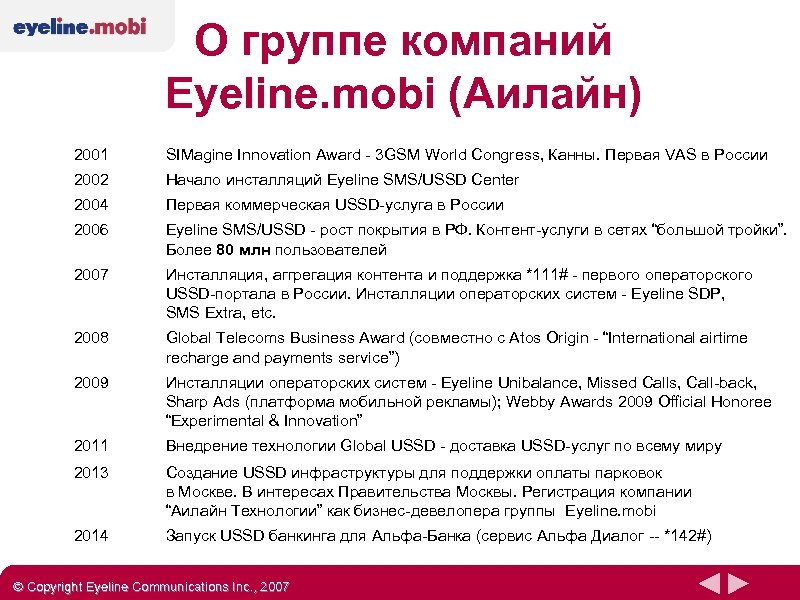 О группе компаний Eyeline. mobi (Аилайн) 2001 SIMagine Innovation Award - 3 GSM World