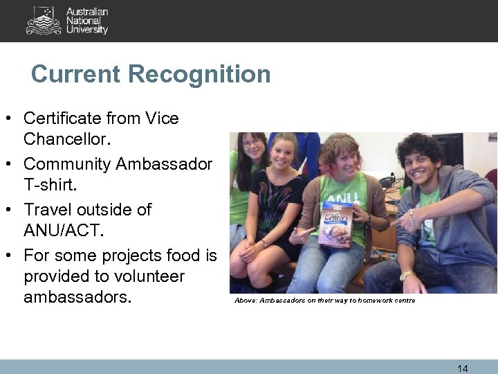 Current Recognition • Certificate from Vice Chancellor. • Community Ambassador T-shirt. • Travel outside