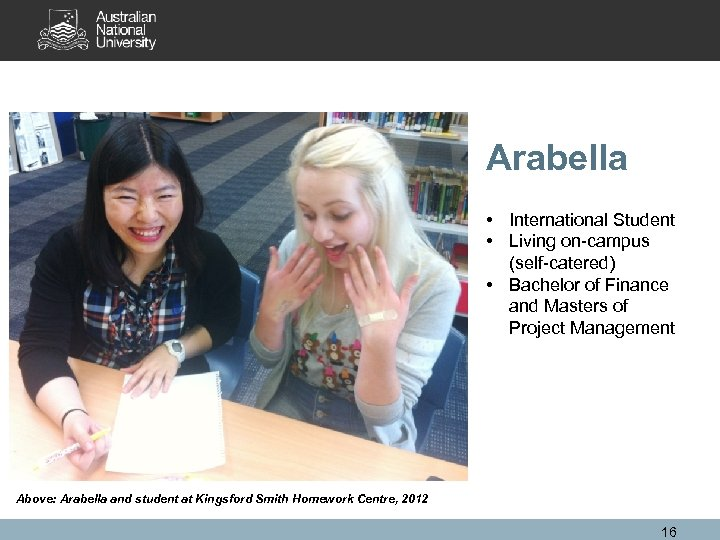 Arabella • International Student • Living on-campus (self-catered) • Bachelor of Finance and Masters