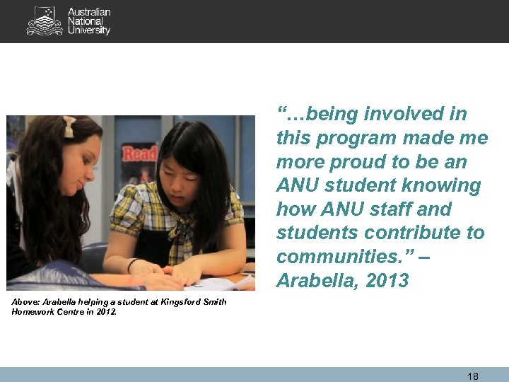 """…being involved in this program made me more proud to be an ANU student"