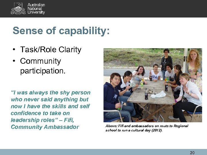 "Sense of capability: • Task/Role Clarity • Community participation. ""I was always the shy"