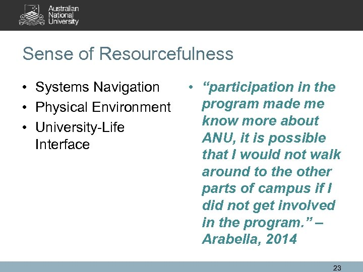 "Sense of Resourcefulness • Systems Navigation • Physical Environment • University-Life Interface • ""participation"