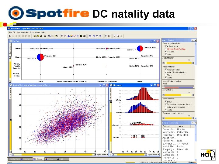 Spotfire: DC natality data