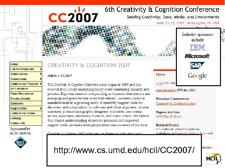 6 th Creativity & Cognition Conference • Washington, DC June 13 -15, 2007
