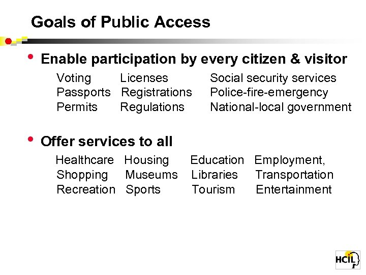 Goals of Public Access • Enable participation by every citizen & visitor Voting Licenses