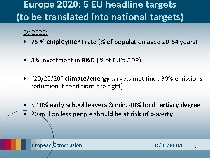 Europe 2020: 5 EU headline targets (to be translated into national targets) By 2020: