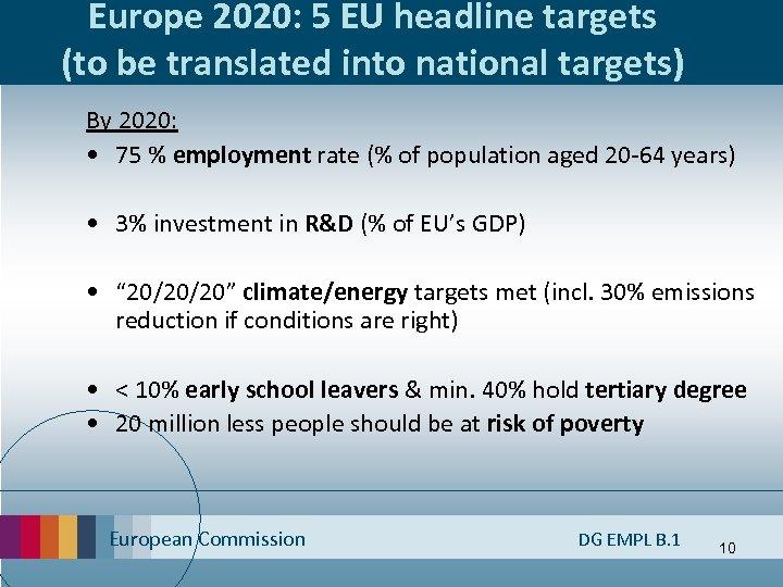 Europe 2020: 5 EU headline targets (to be translated into national targets) By 2020: