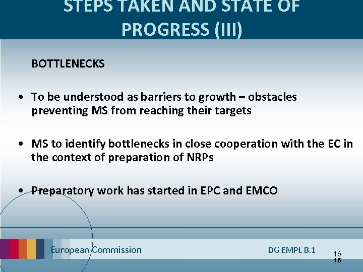 STEPS TAKEN AND STATE OF PROGRESS (III) BOTTLENECKS • To be understood as barriers